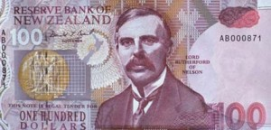 Ernest Rutherford on New Zealand's $100 banknote