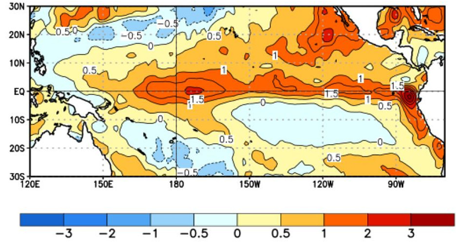 The average sea surface temperature departure (in degrees °Celsius) over the last four weeks, clearly showing the 'warm tongue'.  Image courtesy of Climate Prediction Center, NOAA. Orange colours indicate sea temperatures more than 1°C above average, red colours more than 2°C above average.