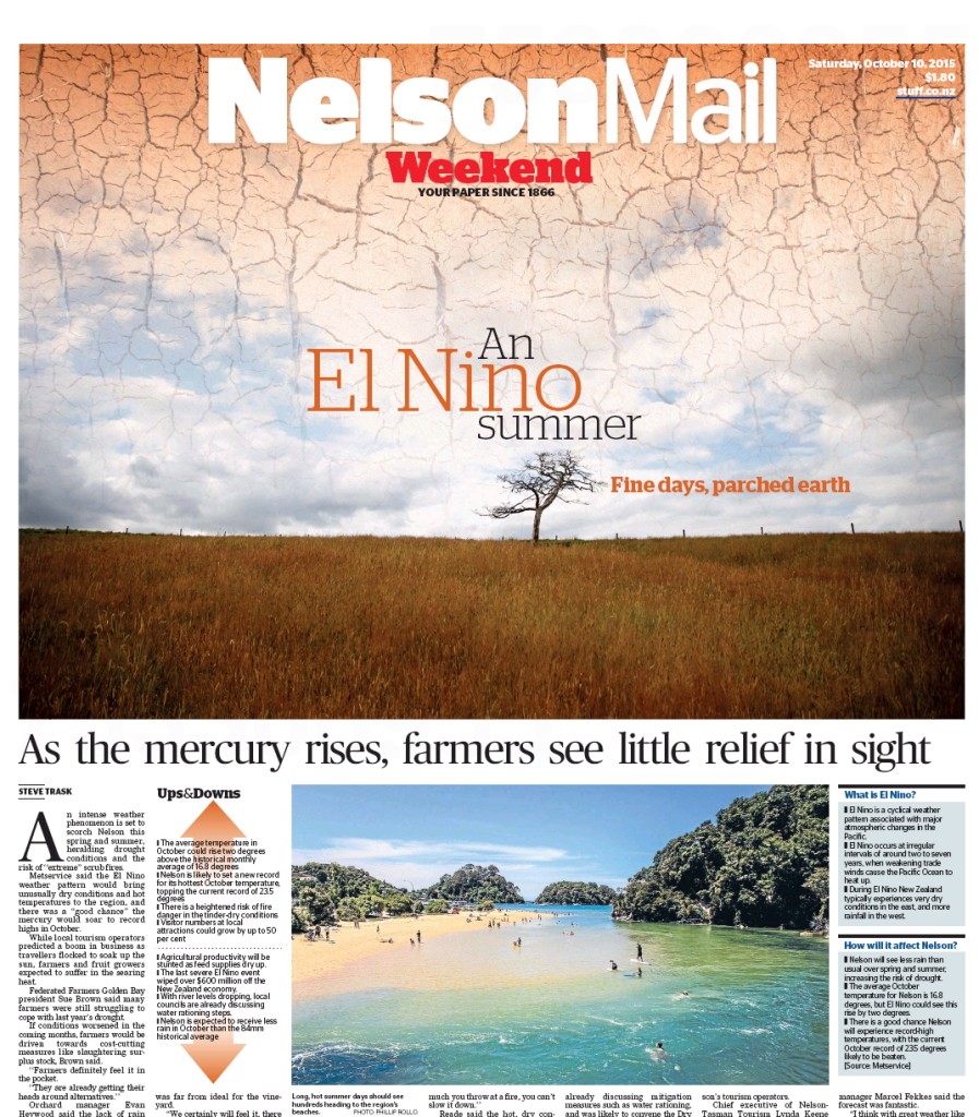 Steven's Nelson Mail front page story