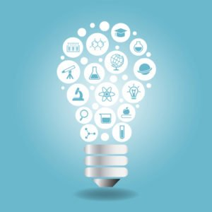 Science Concept - Science icon with light bulb with blue background